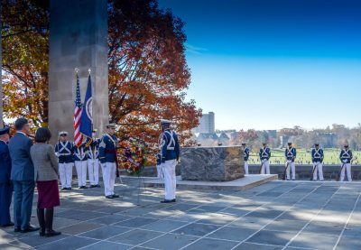Presentation of the memorial wreath at the Cenotaph during the Veteran's Day ceremony in 2014.