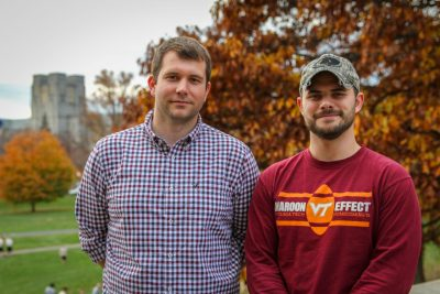Student veterans Trey VanHout, at left, and Matthew Dyke.